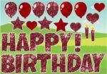 Happy Birthday Red Glitter