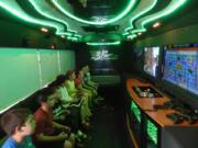 inside of mobile video game bus